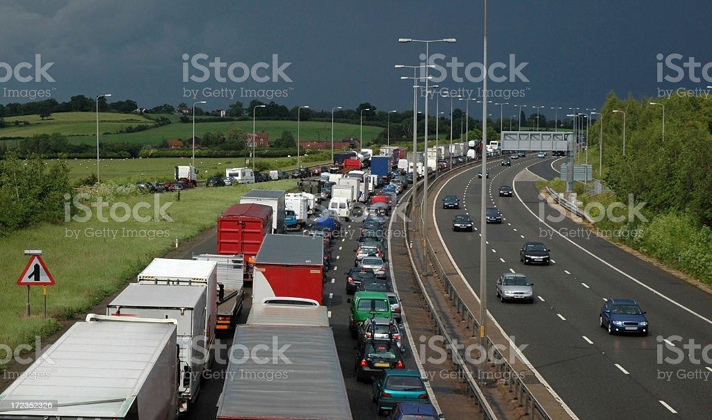 Traffic Jam, Stormy Day, M5 stock photo