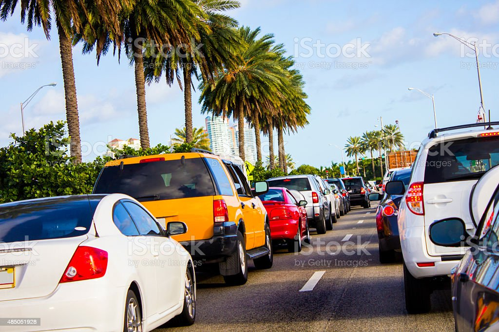 Traffic Jam to Miami Beach stock photo