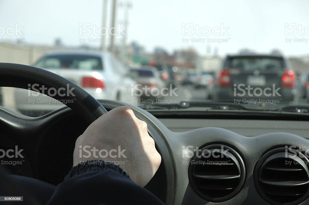 Traffic jam with black car interiors royalty-free stock photo