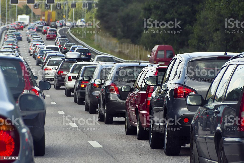 Traffic jam with rows of cars stock photo