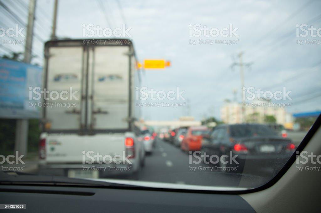 Traffic jams in the city - rush hour softfocus stock photo