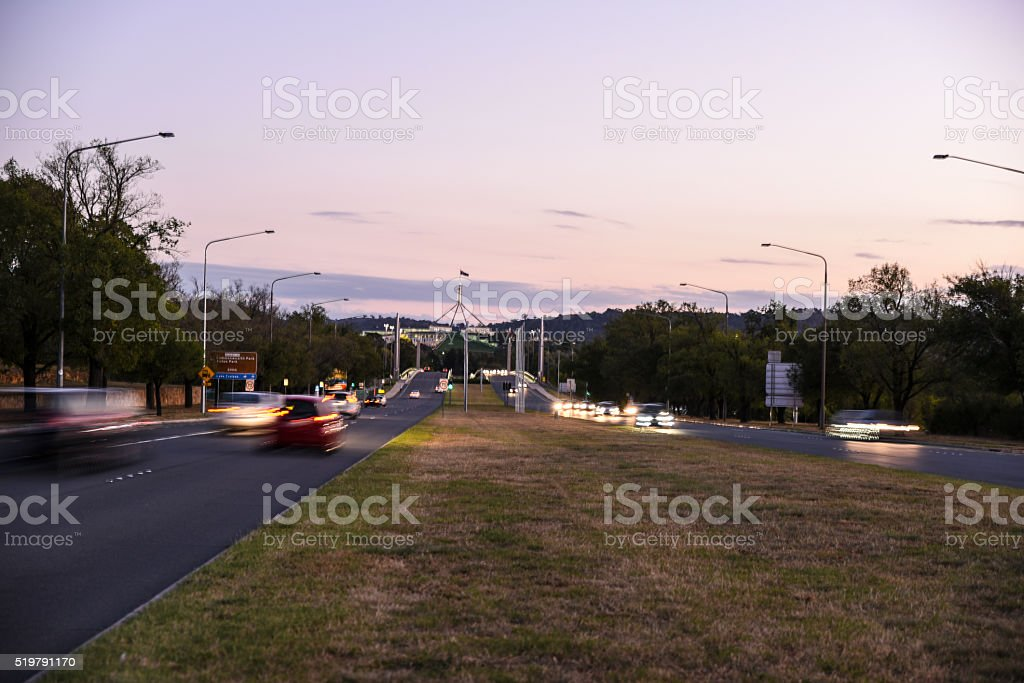 Traffic just before night in Canberra near Parliament House stock photo