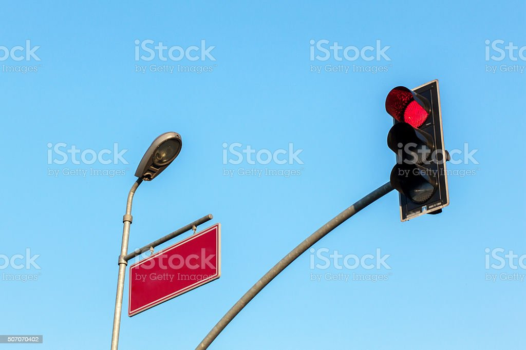 Traffic Light and Electricity Pole stock photo