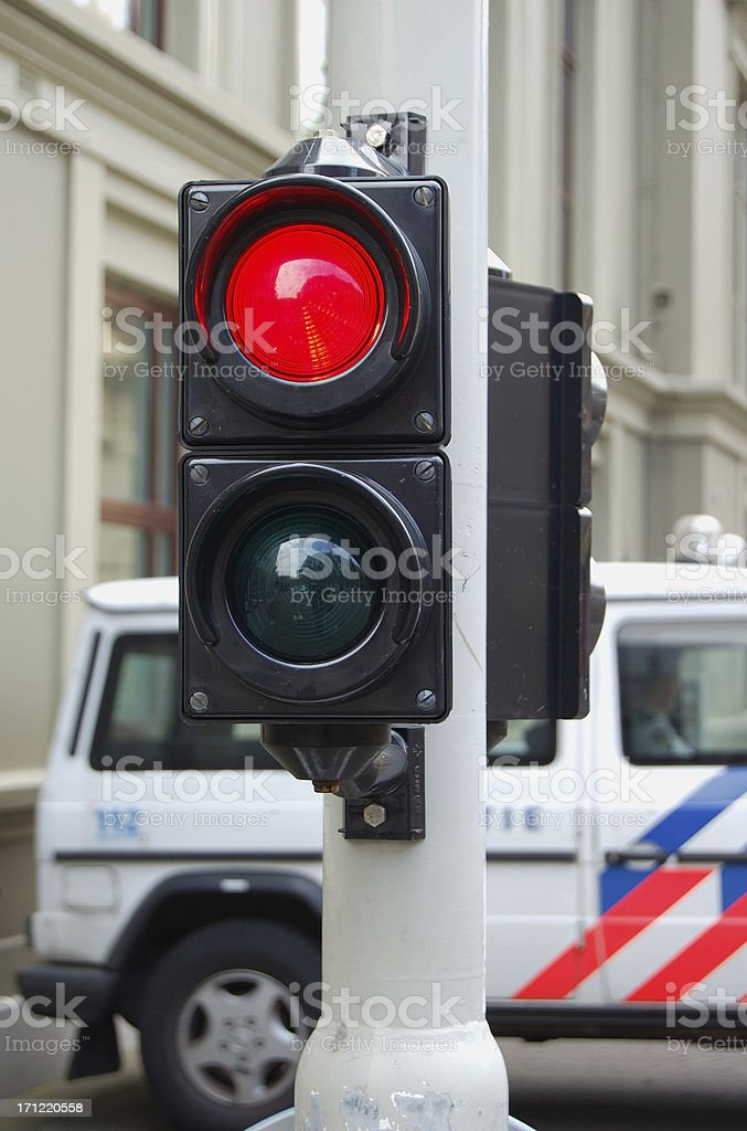 Traffic light and security car royalty-free stock photo