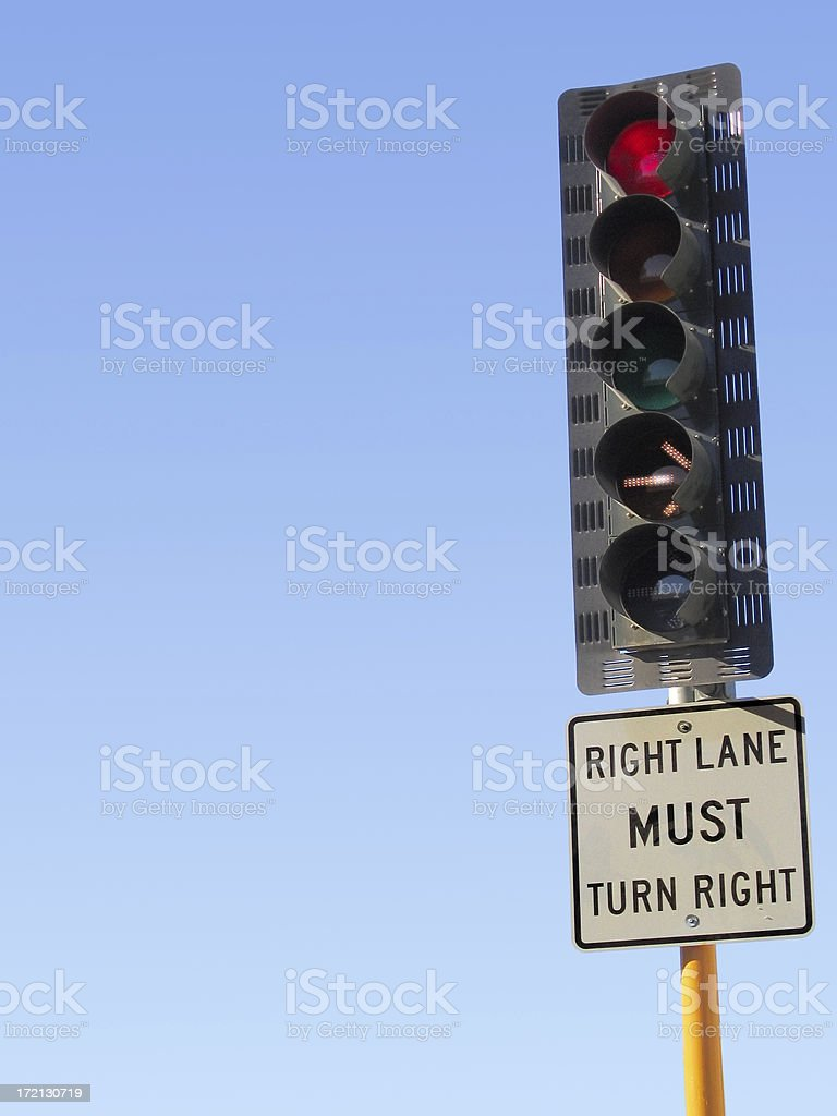 Traffic Light and Sign royalty-free stock photo