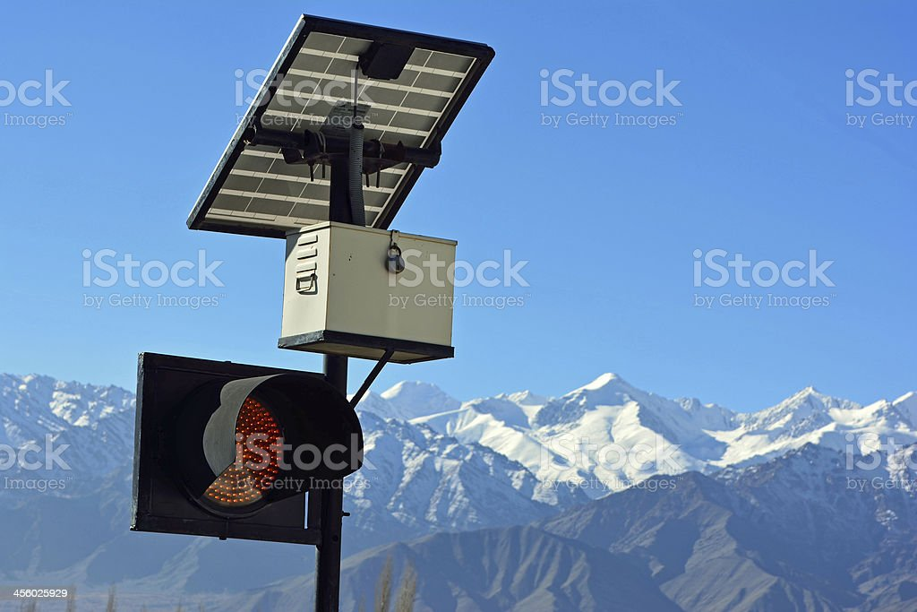 traffic light and solar cell panel in Leh, Ladakh, India. stock photo