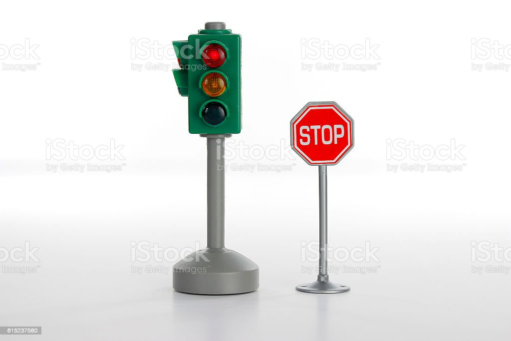Traffic light and stop road sign stock photo