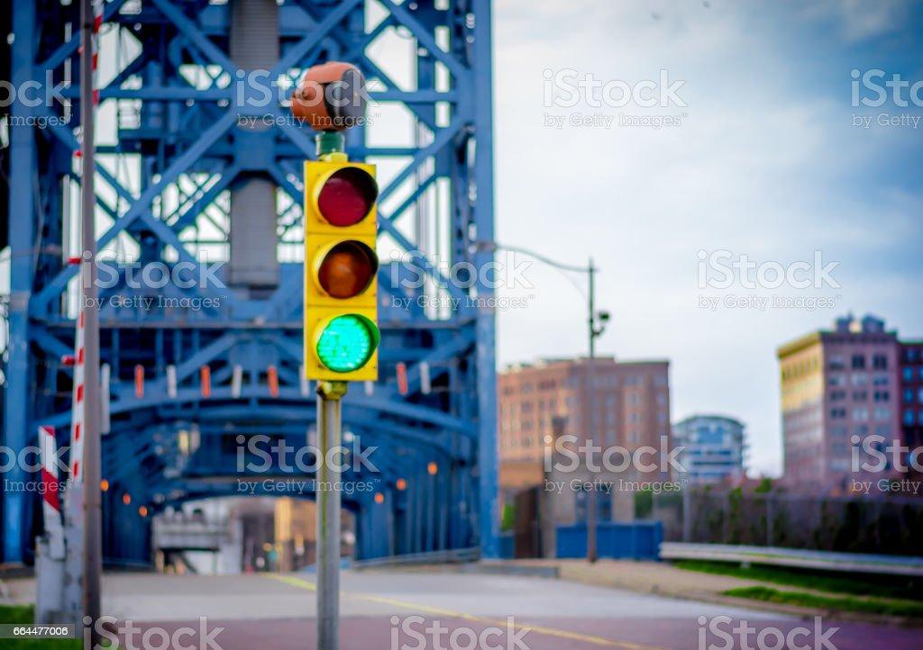 Traffic Light Before a Bridge stock photo