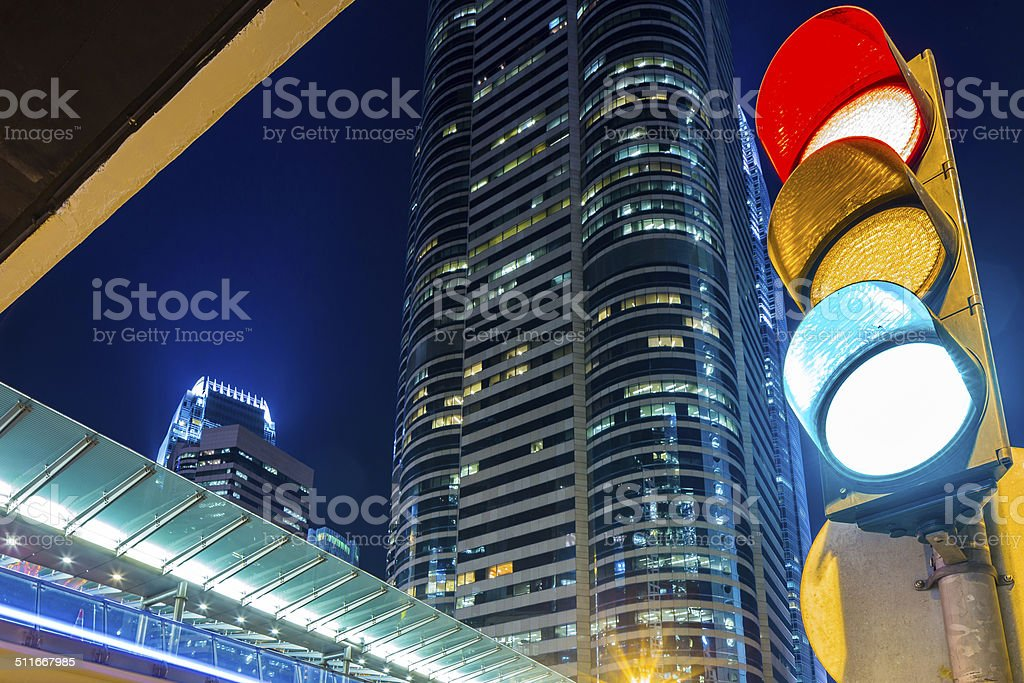 Traffic light in modern city stock photo