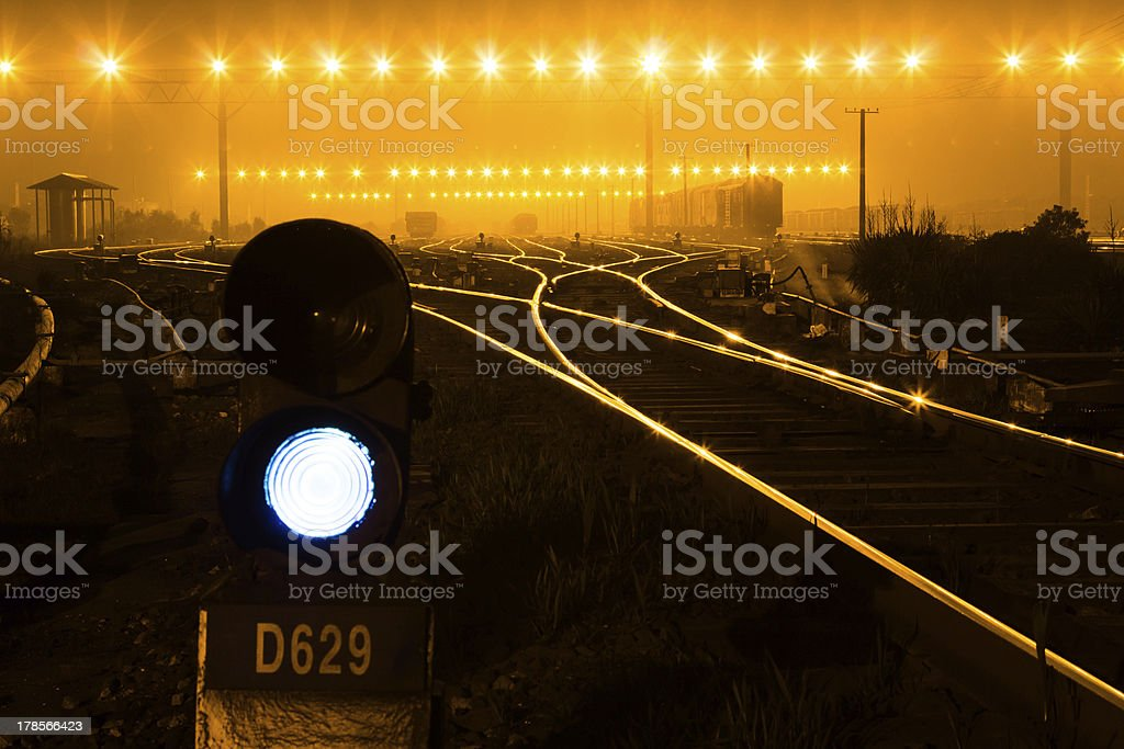 Traffic light in railroad royalty-free stock photo