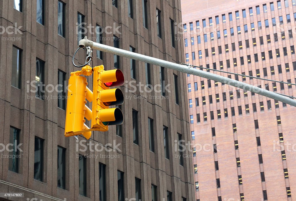 Traffic Light in the city.  YOU can GO. high-rise buildings stock photo