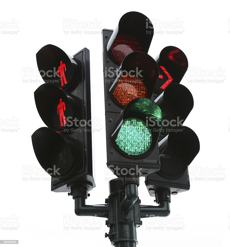traffic light isolated over white background royalty-free stock photo