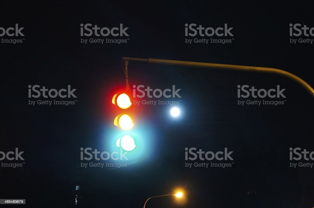 Traffic Light + Moon, Night royalty-free stock photo