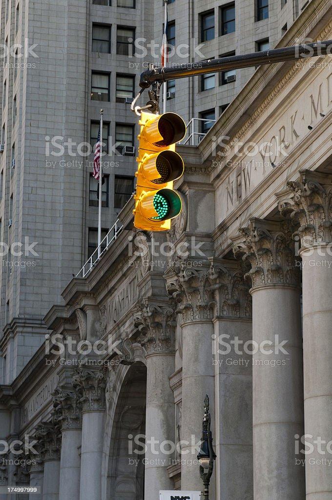 Traffic light on green, New York, America, USA stock photo
