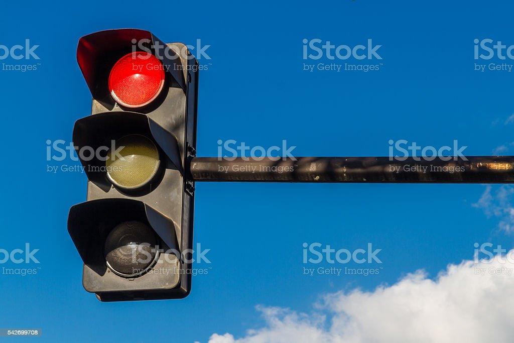Traffic light on red stock photo