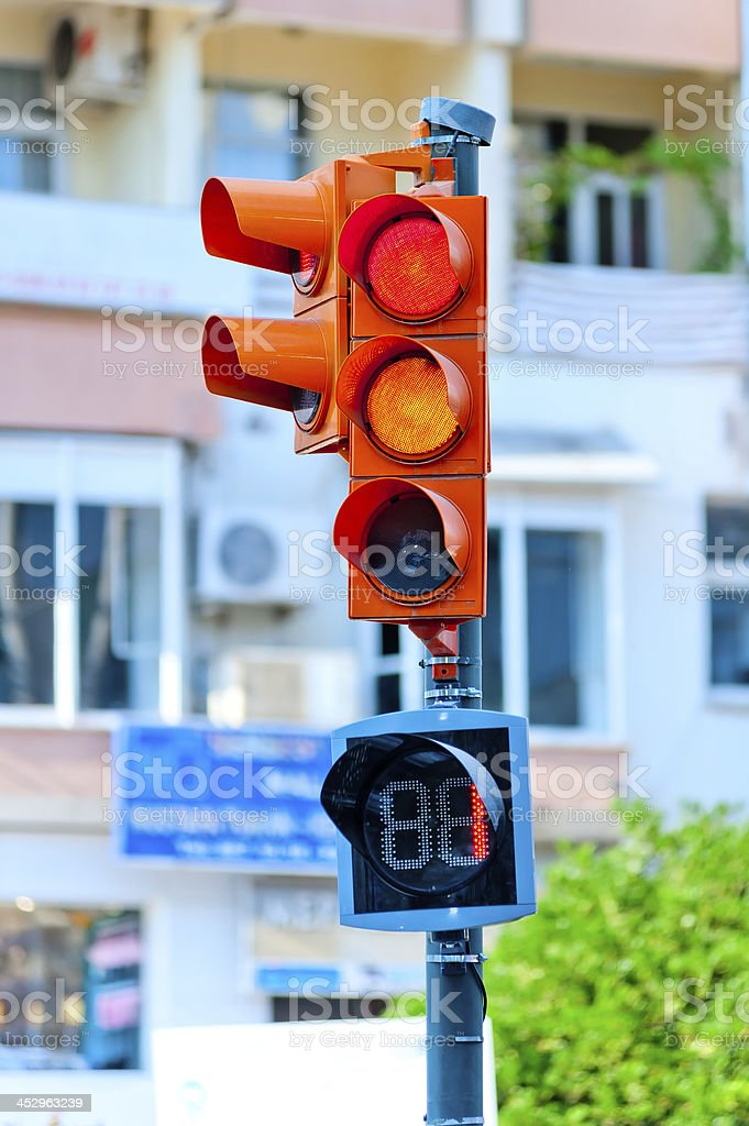 traffic light on the background of a city street royalty-free stock photo