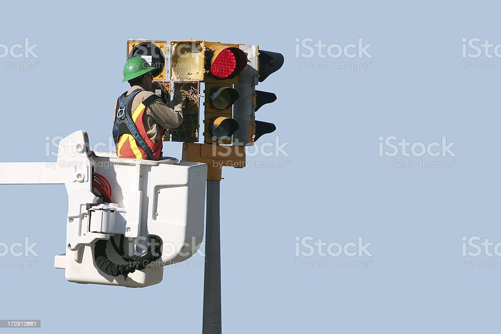 Traffic Light Repair royalty-free stock photo