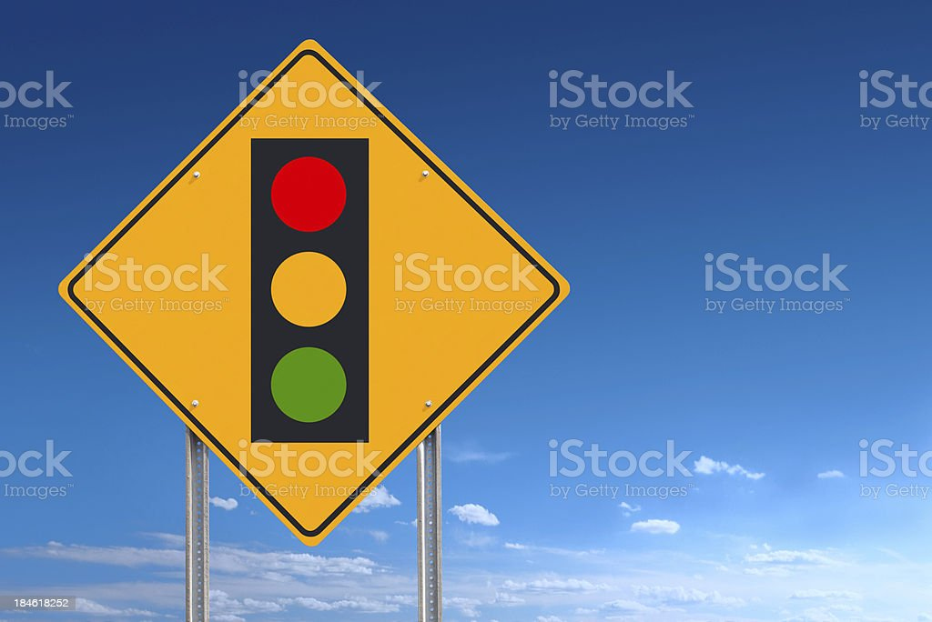 Conceptual road sign indicating a traffic light ahead - a clipping...