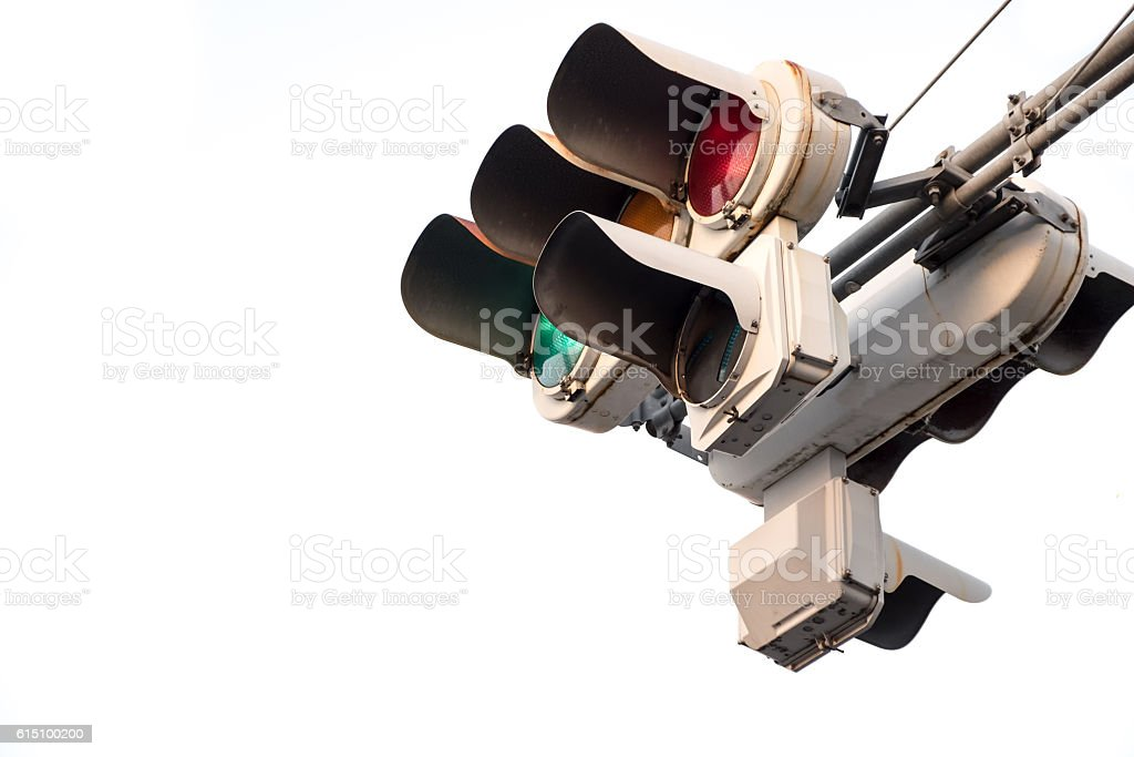 Traffic light signal isolate stock photo