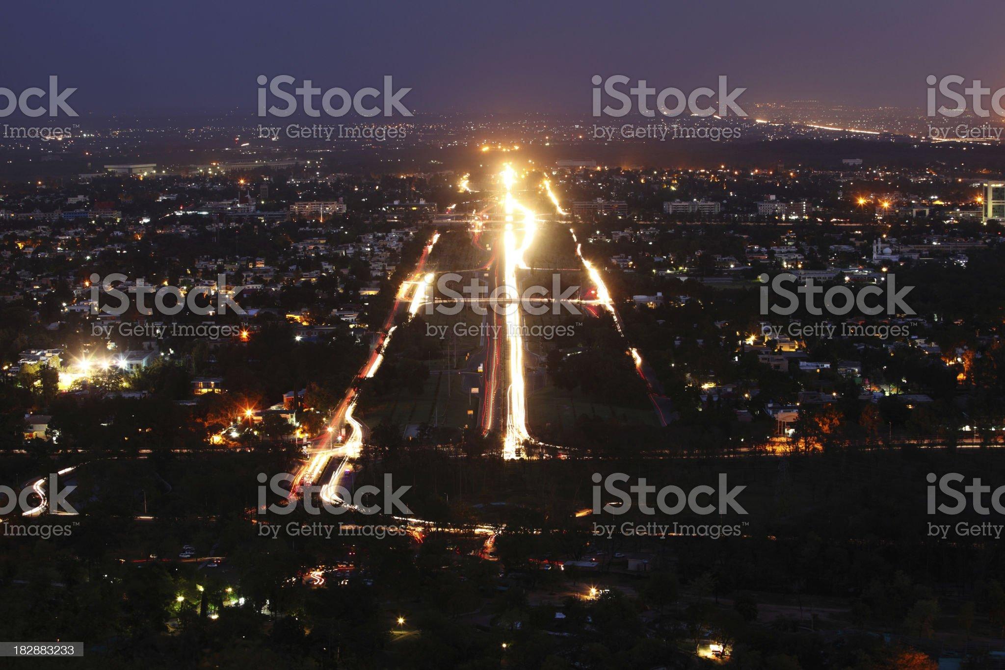 Traffic Light trails in Modern Cityscape Islamabad Pakistan royalty-free stock photo