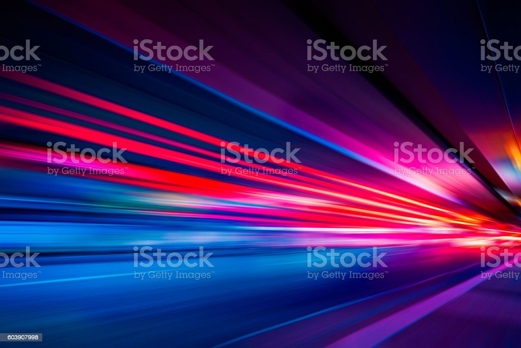 Traffic Light trails on street in Shanghai stock photo