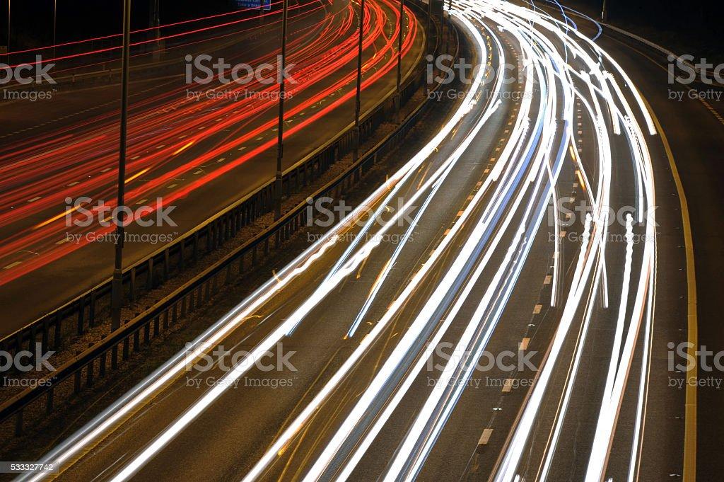 Traffic Light Trails stock photo