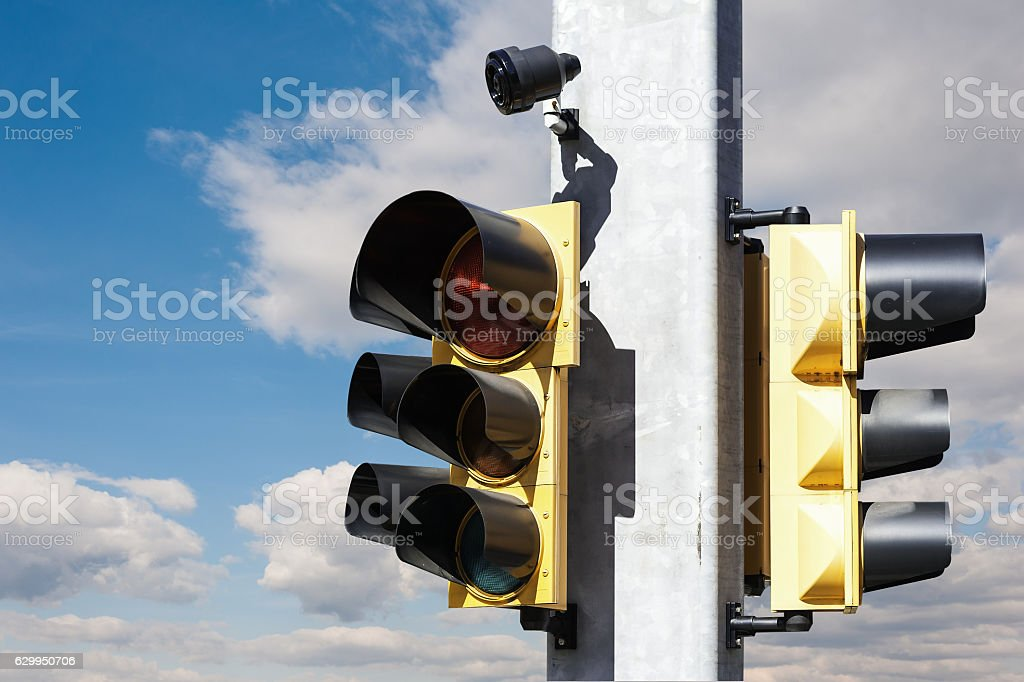 Traffic light with beeper stock photo