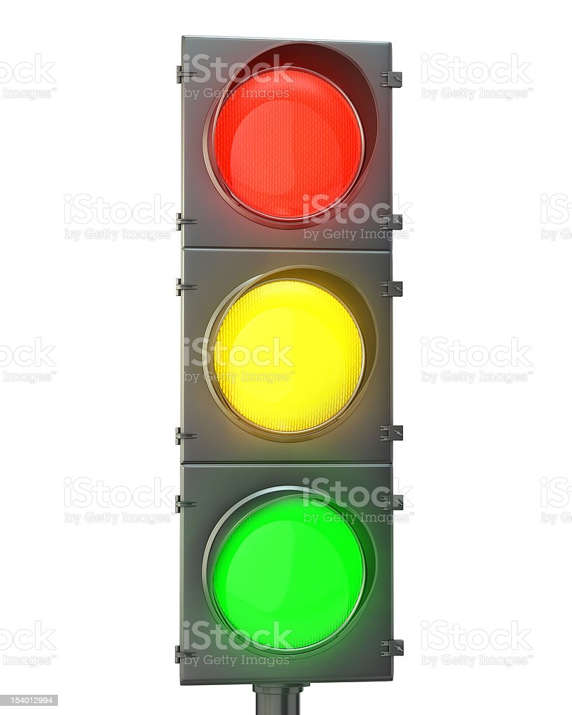 Traffic light with red, yellow and green lights stock photo