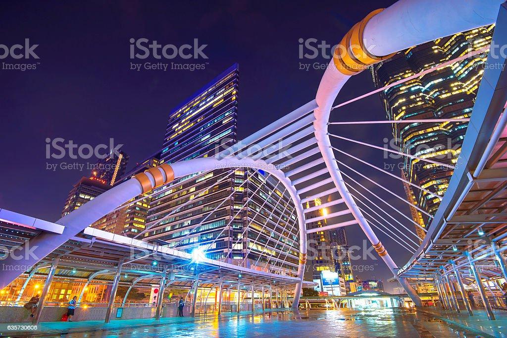 Traffic lighting on Sathorn road, Business center of Bangkok. stock photo