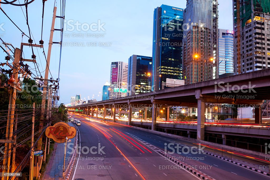 Traffic, lights and buildings stock photo