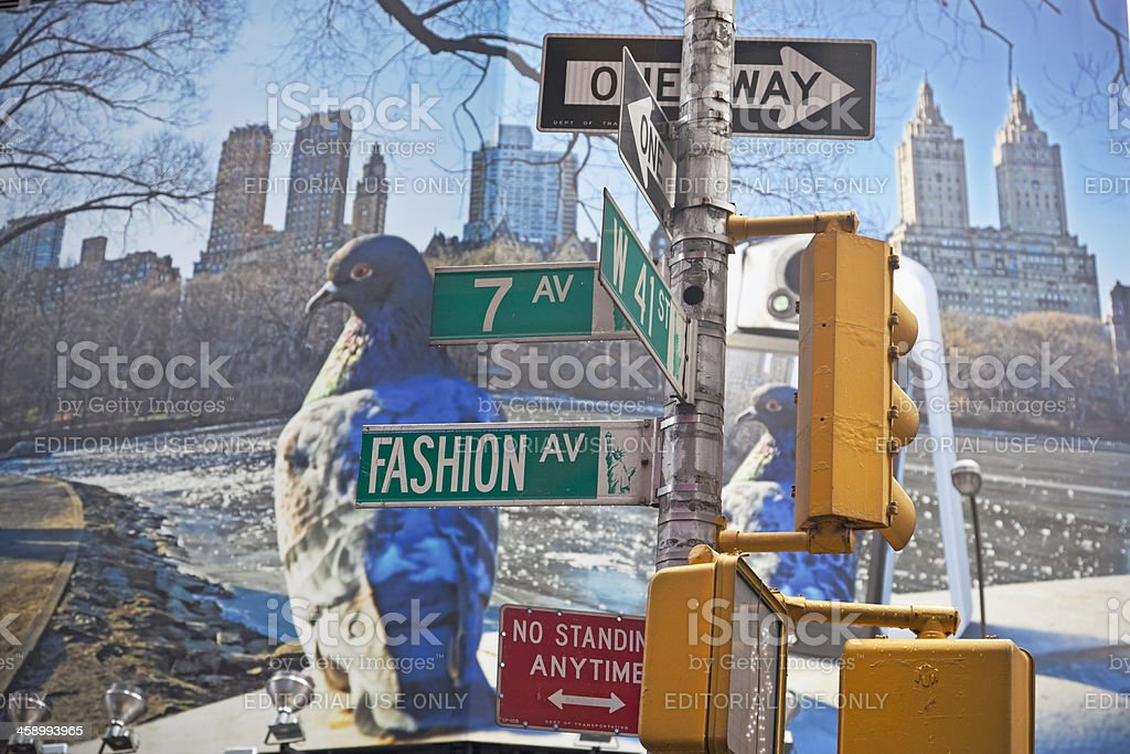 Traffic lights and street name signs NYC stock photo