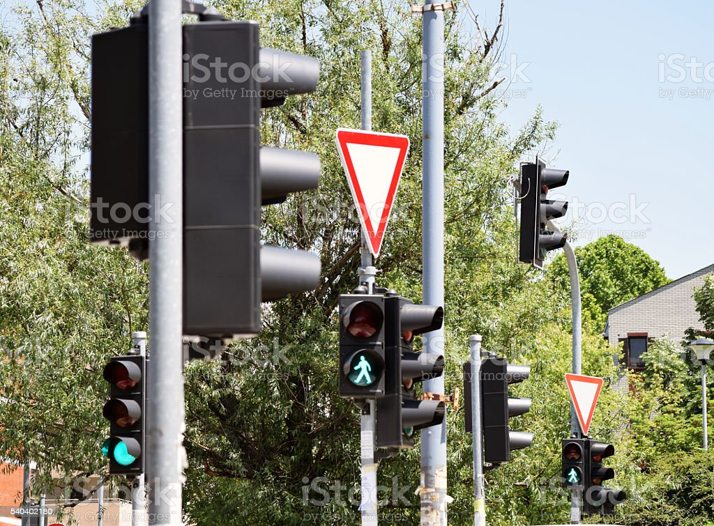 traffic lights at the intersection of car stock photo