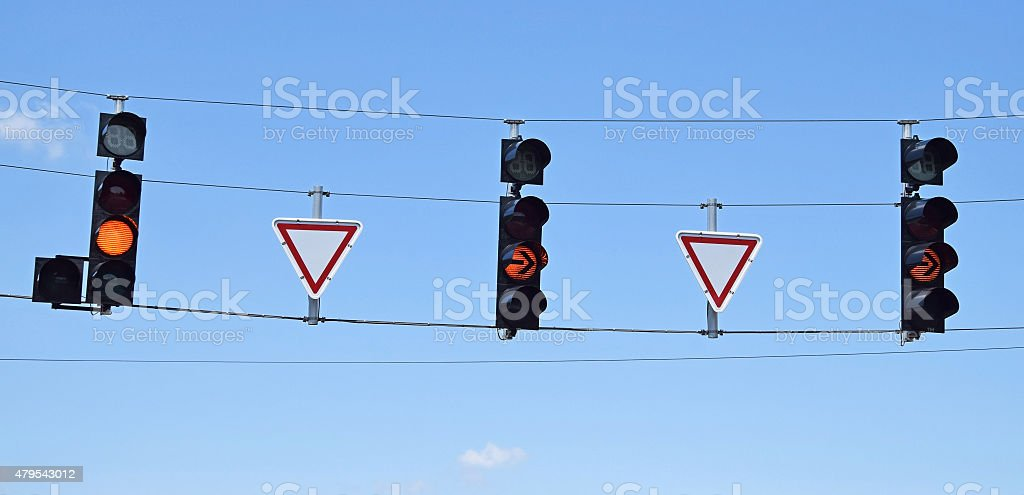 Traffic lights at the road crossing stock photo