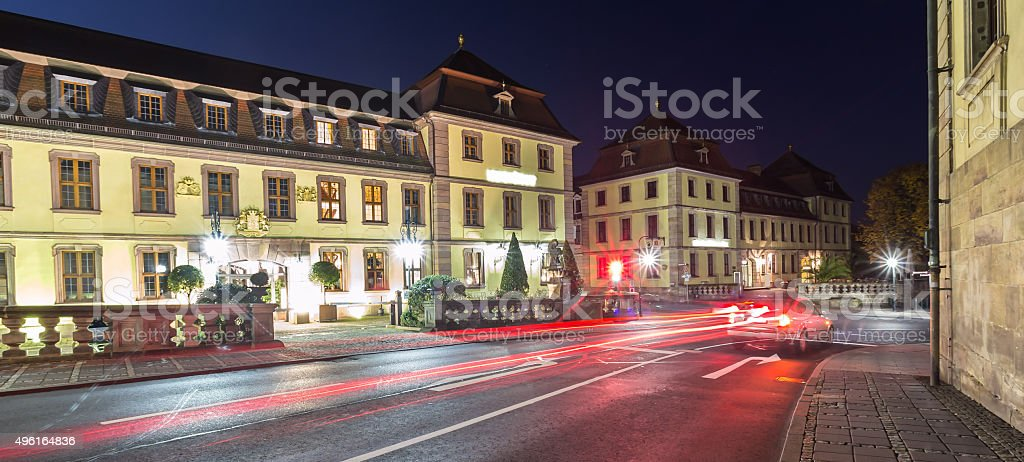traffic lights fulda germany in the evening stock photo