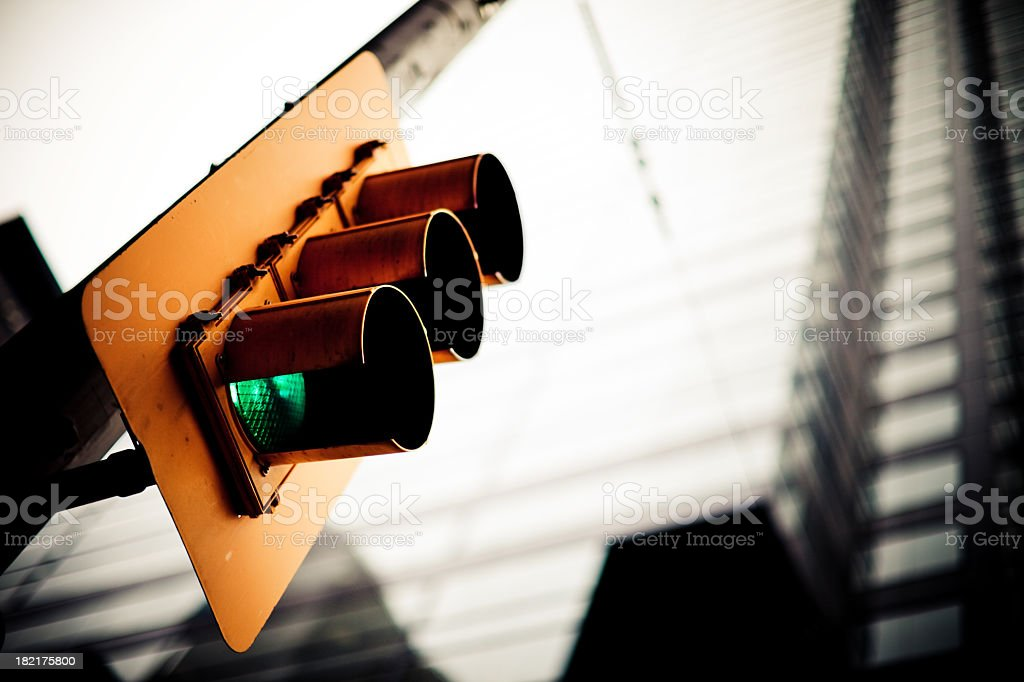 Traffic lights goes green stock photo