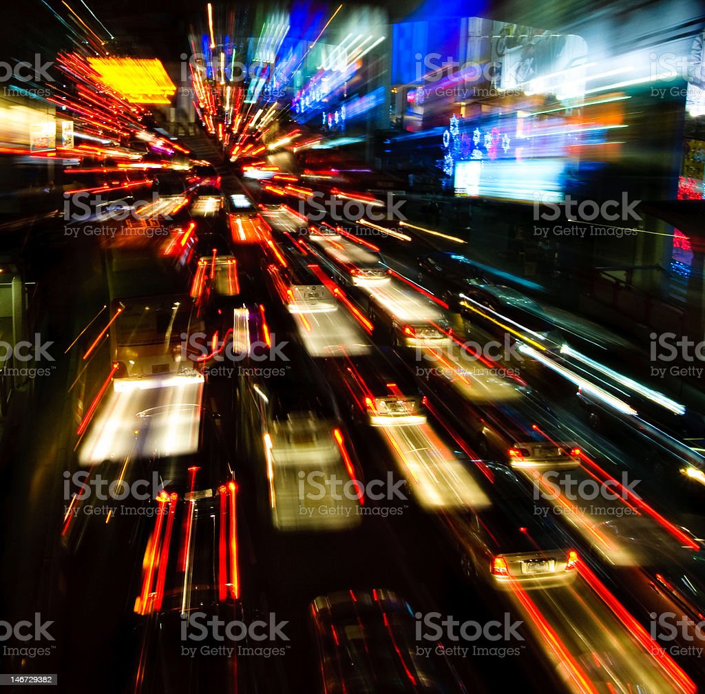traffic lights in motion blur royalty-free stock photo