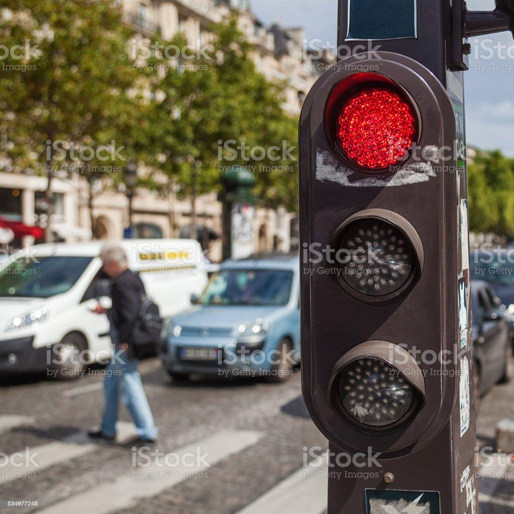 traffic lights in Paris, France stock photo