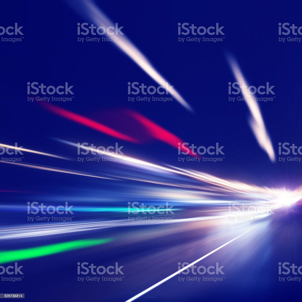 Traffic lights in the city. Motion blur. stock photo