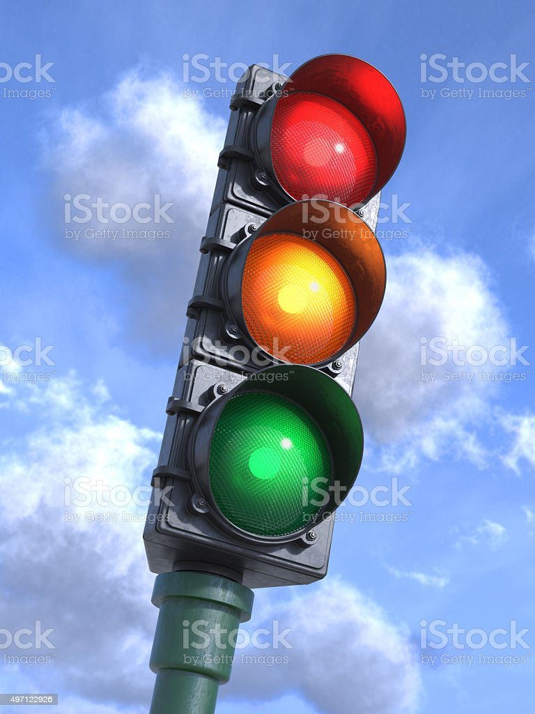 Traffic lights on crossroads, sky background 3d stock photo