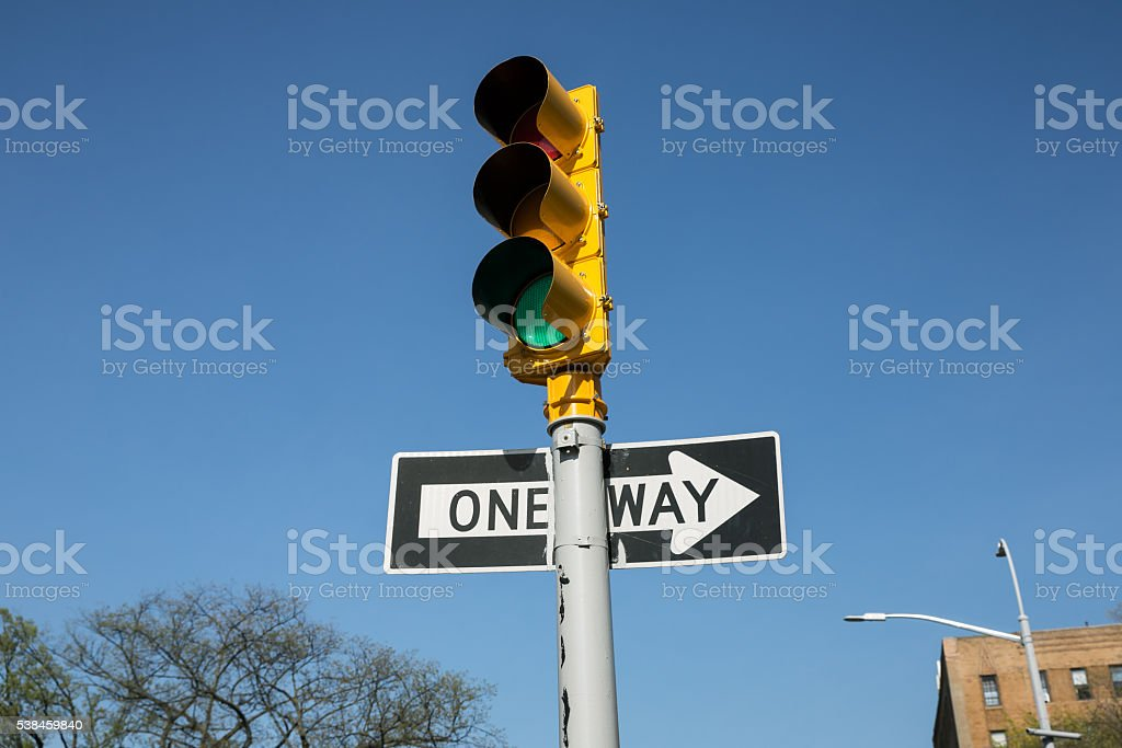Traffic lights on the streets of Brooklyn stock photo