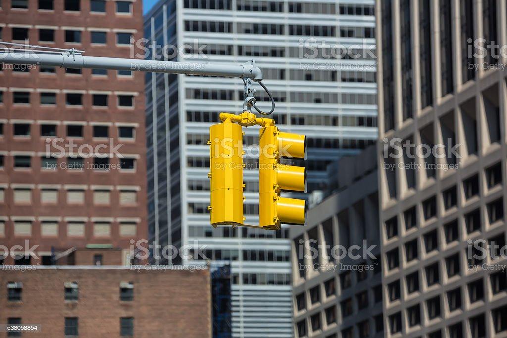 Traffic lights on the streets of Manhattan stock photo