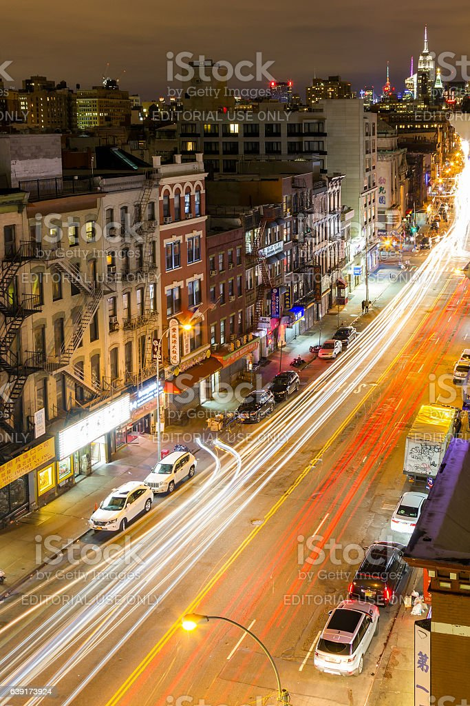 Traffic Lights Up Streets of Chinatown New York City stock photo