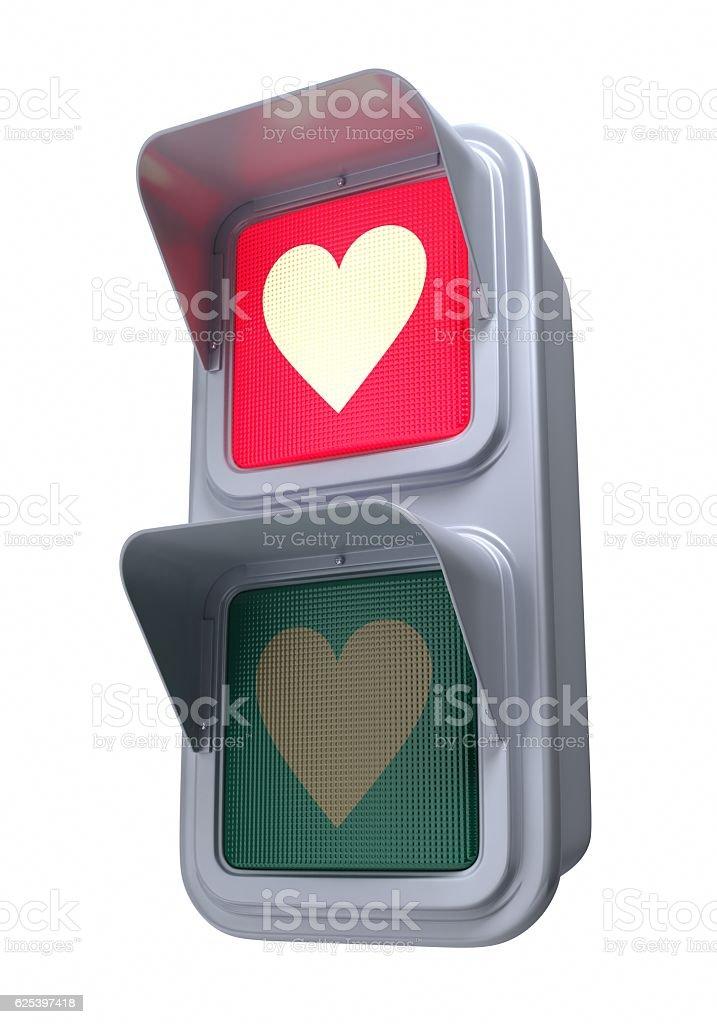 Traffic lights'heart' stock photo