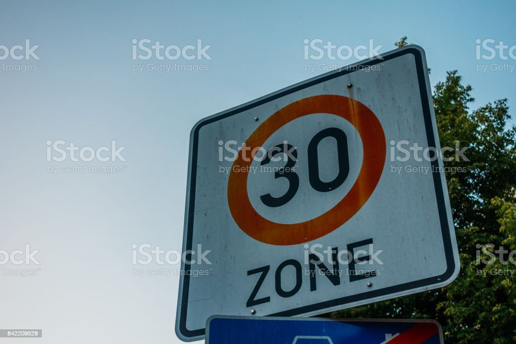 traffic limit sign for 30 kilometres stock photo