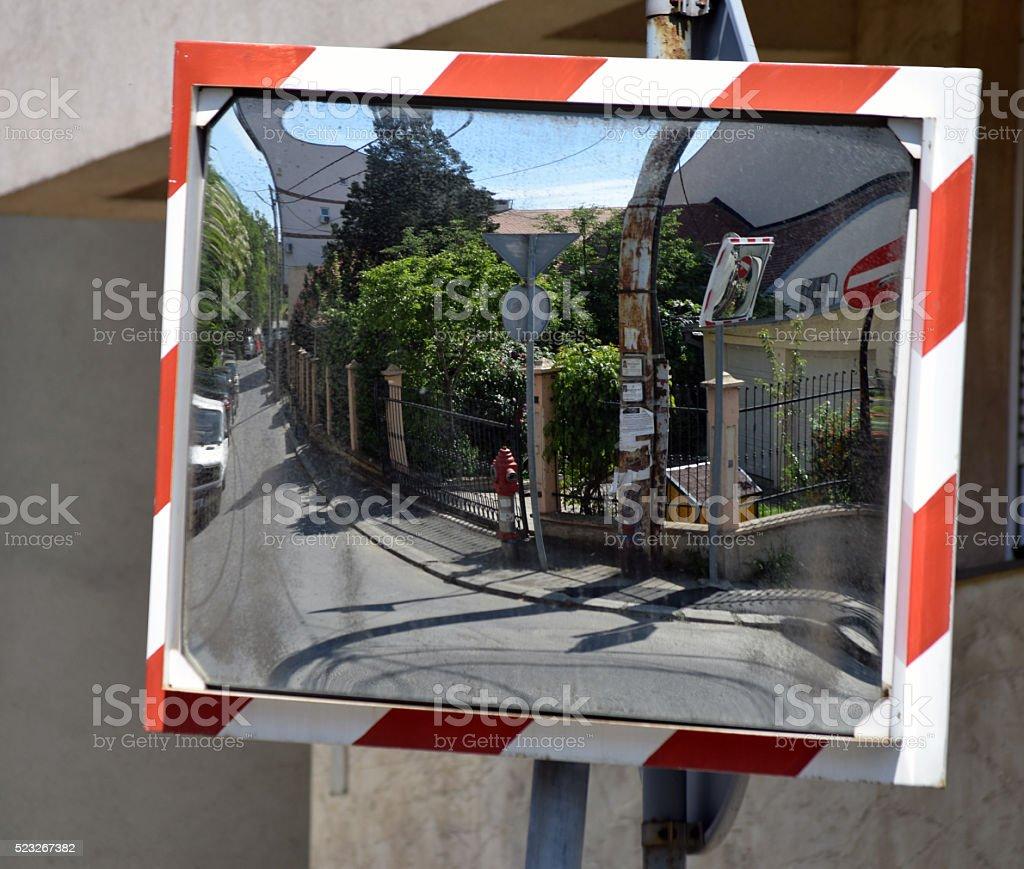 Traffic mirror in the traffic mirror stock photo