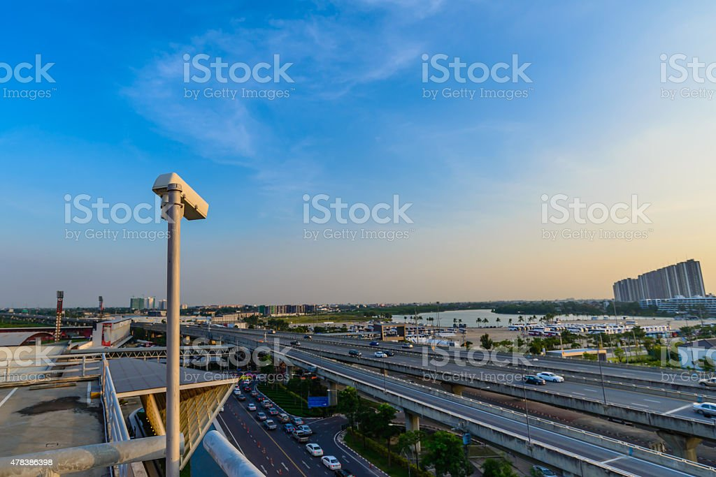 Traffic monitoring with CCTV. stock photo