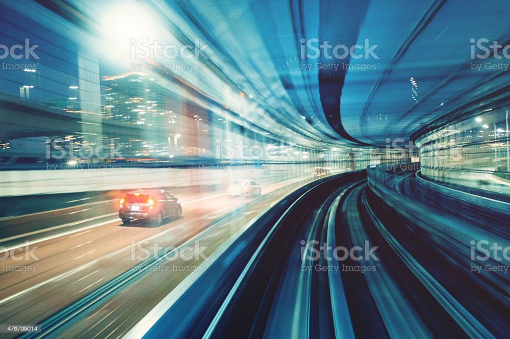 Traffic motion in Tokyo Japan stock photo