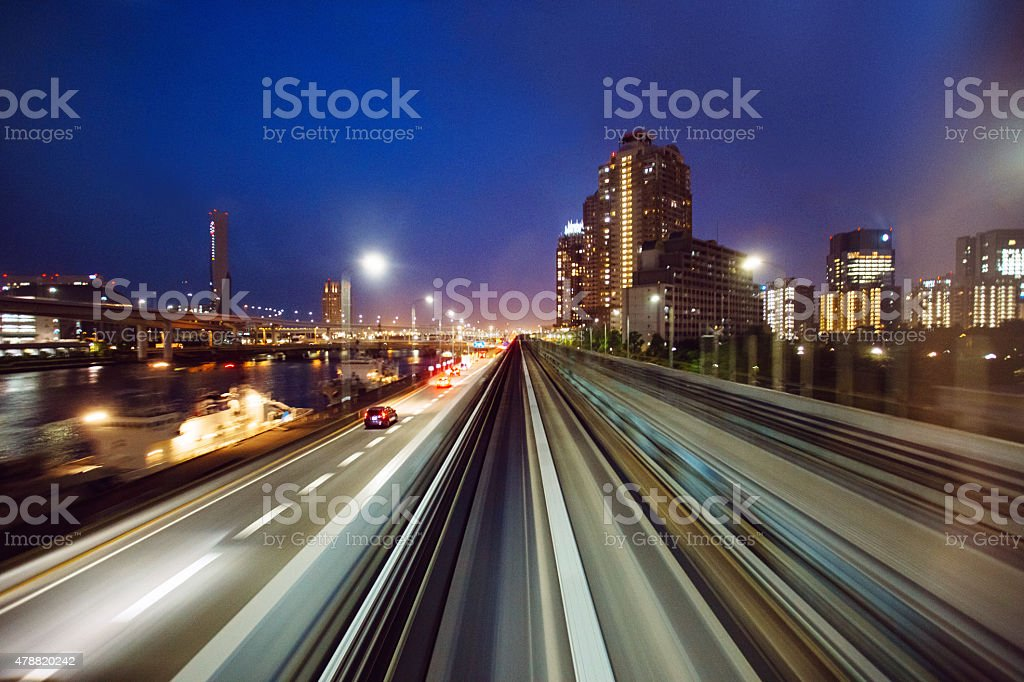 Traffic motion in Tokyo Japan stock photo