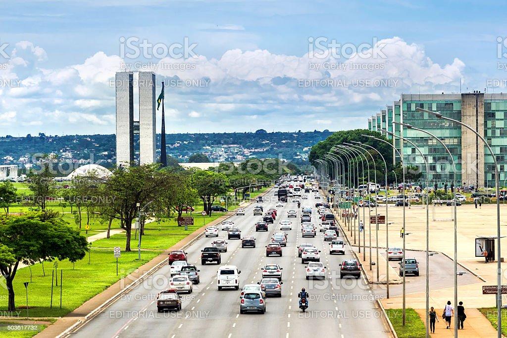 Traffic Next to Congresso Nacional in Brasilia, Capital of Brazil stock photo