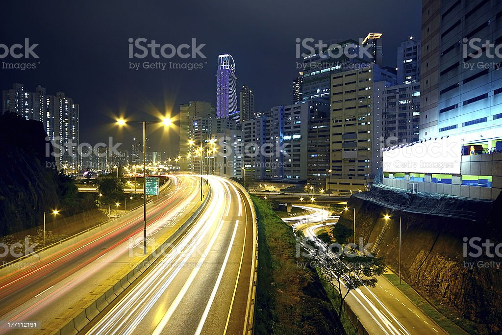 traffic night and big advertising block royalty-free stock photo